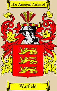Perfect Official Warfield Coat Of Arms Taken From House Of Names.